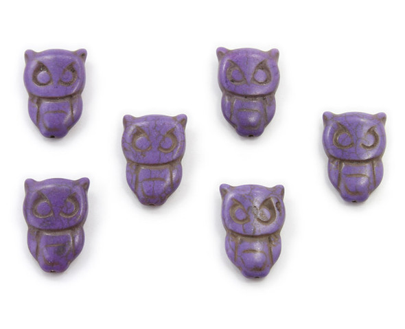 20x30  pack of 6 Purple howlite carved owl beads