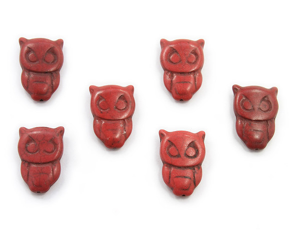 20x30  pack of 6 Red howlite carved owl beads