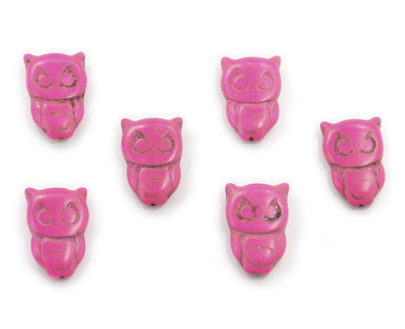 20x30 Pack Of 6 Deep Pink Howlite Carved Owl Beads