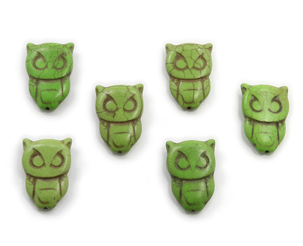 20x30  pack of 6 Green howlite carved owl beads