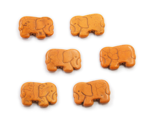 20x40mm  pack of 6 Orange howlite carved small elephant beads