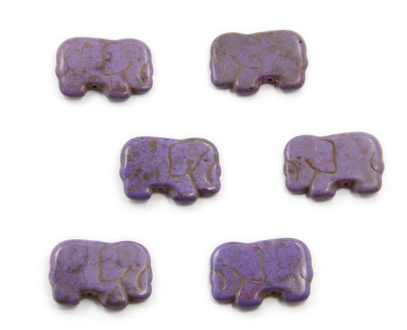 20x40mm  pack of 6 Purple howlite carved small elephant beads