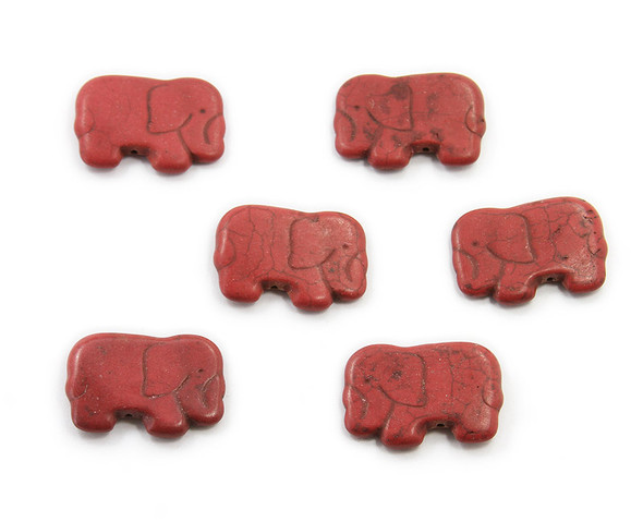 20x40mm  pack of 6 Red howlite carved small elephant beads