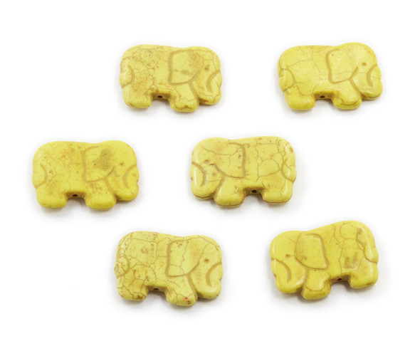 20x40mm  pack of 6 Yellow howlite carved small elephant beads
