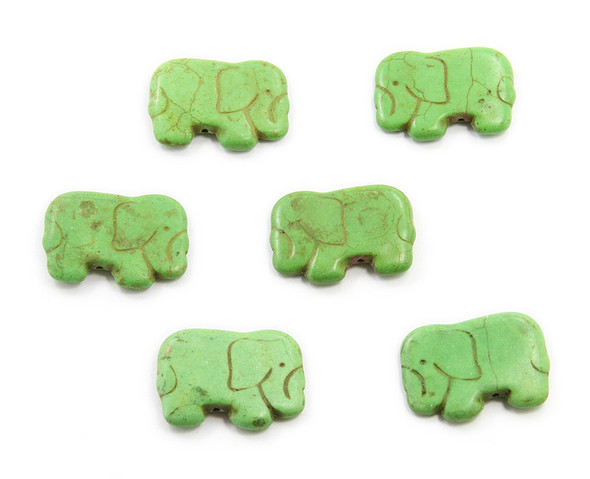 20x40mm Pack Of 6 Green Howlite Carved Small Elephant Beads