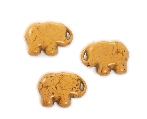 30x40mm  pack of 3 Orange howlite carved large elephant beads