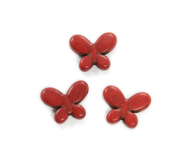 20x25mm Pack Of 6 Red Howlite Carved Small Butterfly Beads