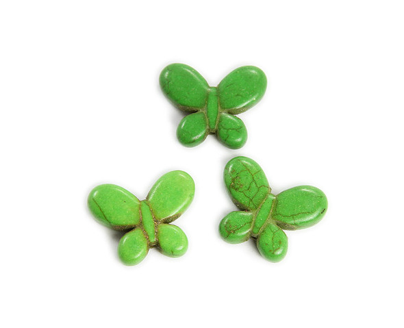 20x25mm  pack of 6 Green howlite carved small butterfly beads
