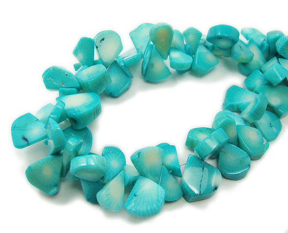 8x10mm-10x12mm Sea Blue Coral Flat Teardrop Beads