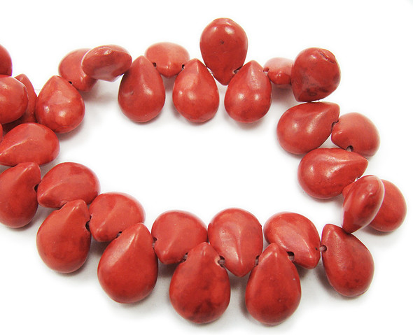 10x14mm  16 inch strand Red howlite puffed teardrop beads