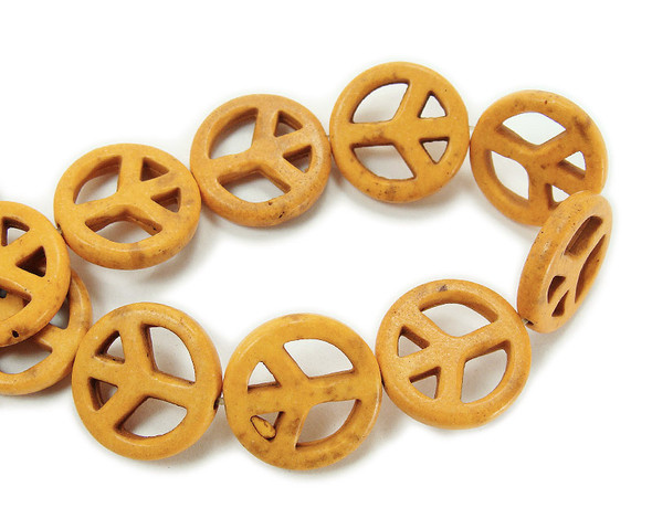 20mm Yellow Howlite Peace Sign Beads