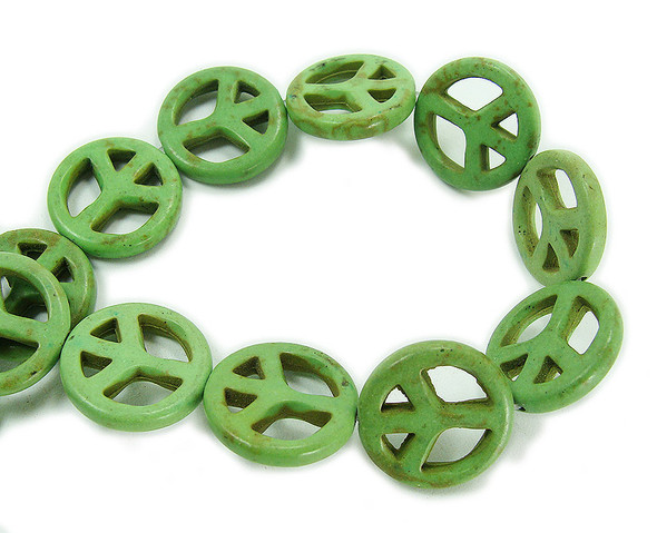 20mm Green howlite peace sign beads