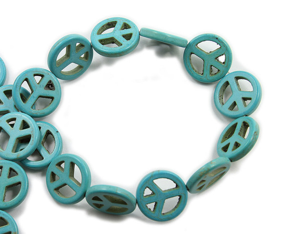 20mm Turquoise Howlite Peace Sign Beads