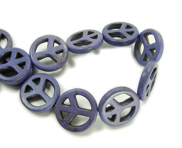 20mm Purple howlite peace sign beads