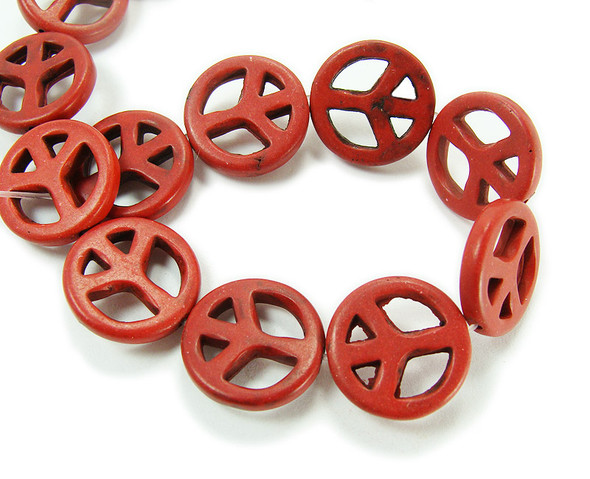 20mm Red Howlite Peace Sign Beads