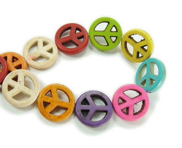 25mm Multi Color Howlite Peace Sign Beads