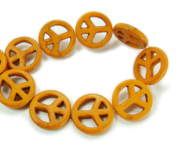 20mm Orange howlite peace sign beads