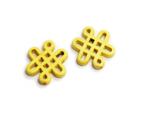 28x24mm Pack Of 2 Yellow Howlite Carved Chinese Knot Beads