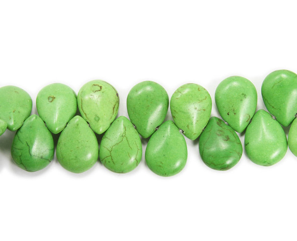 14x18mm  8 inches Green howlite puffed teardrop beads