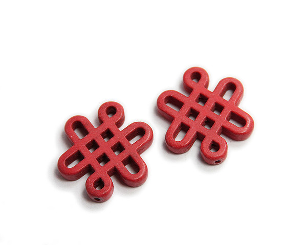 28x24mm Pack Of 2 Red Howlite Carved Chinese Knot Beads