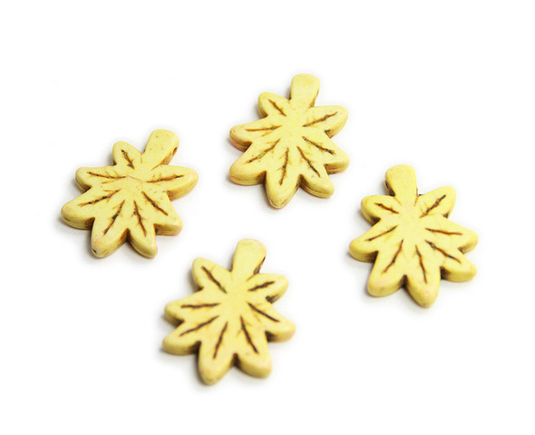 30x24mm Pack Of 4 Yellow Howlite Carved Palm Leaf Beads