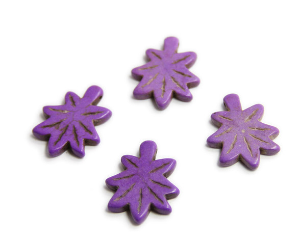 30x24mm  pack of 4 Purple howlite carved palm leaf beads