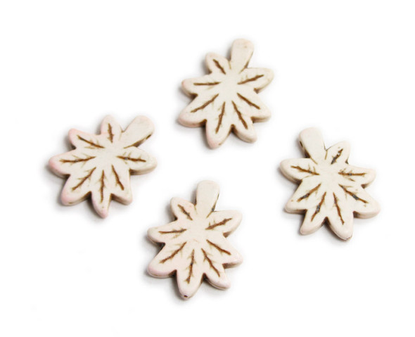 30x24mm Pack Of 4 White Howlite Carved Palm Leaf Beads