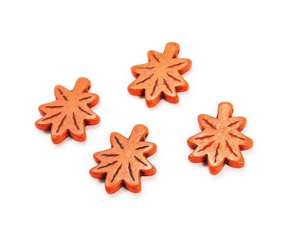 30x24mm  pack of 4 Orange carved palm leaf beads