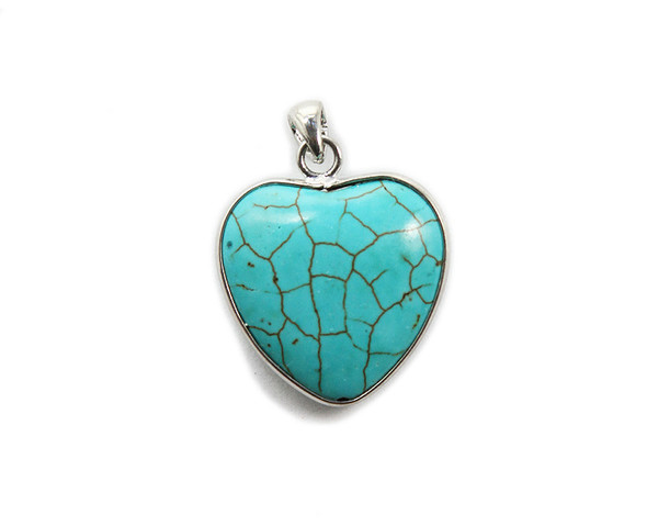 25x30mm Turquoise howlite puffed heart pendant in silver frame