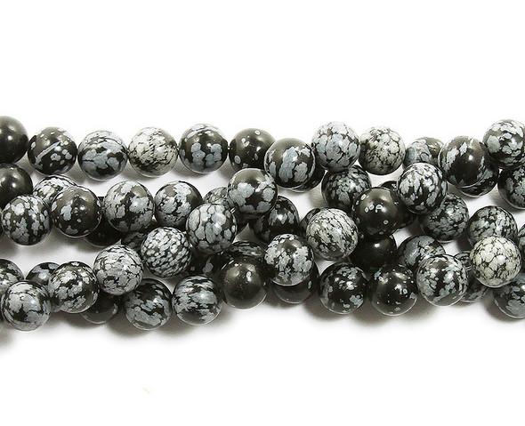 8mm Snowflake Obsidian Round Beads