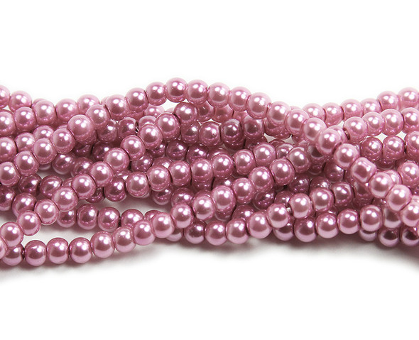 4mm Light Pink Pearlized Glass Beads