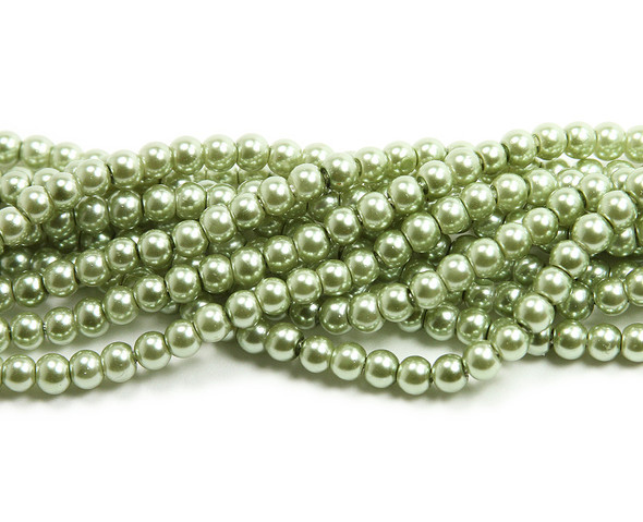 4mm Green Pearlized Glass Beads