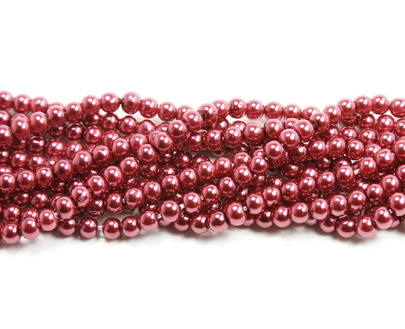 4mm Deep Red Pearlized Glass Beads