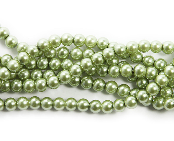 6mm Green Pearlized Glass Beads