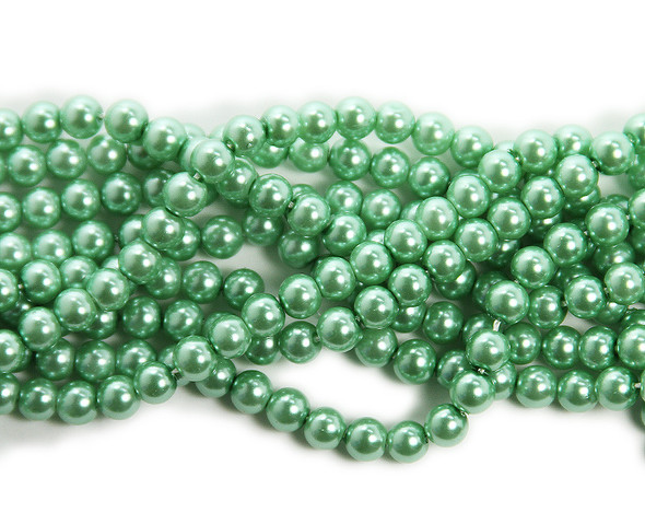 6mm Shamrock Green Pearlized Glass Beads