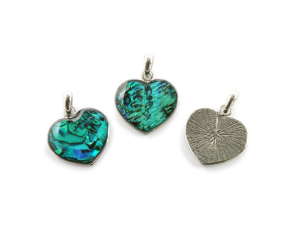 20mm Pack Of 3 Sea Green Abalone Shell Heart Pendant