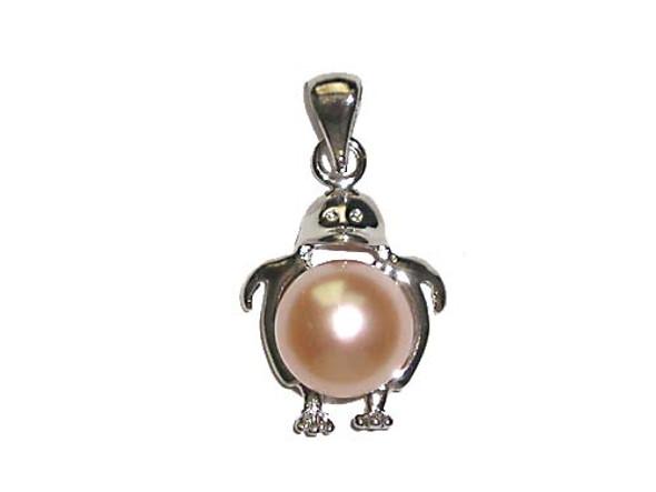 25mm Peach pearl penguin pendant