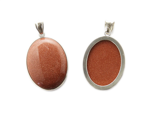30x40mm Brown goldstone puffed oval pendant with silver frame