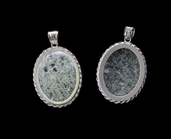 30x40mm Rutilated Quartz Puffed Oval Pendant With Decorated Silver Frame