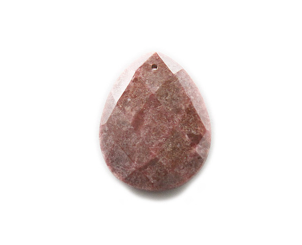 35x45mm Rhodonite faceted puffed small teardrop pendant