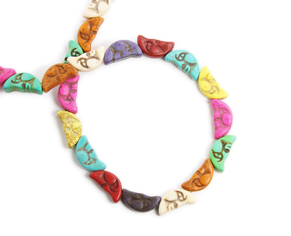 10x20mm Crescent Moon Multi-Color Howlite Beads