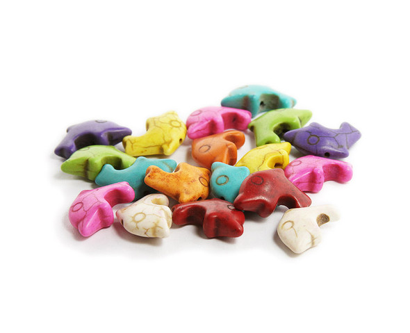 12x20mm Small Dolphin Multi-Color Howlite Beads