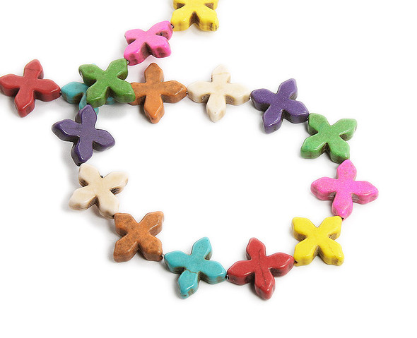 20x20mm Small Cross Multi-Color Howlite Beads
