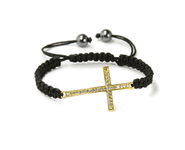 one size fits all Gold CZ sideway cross bracelet
