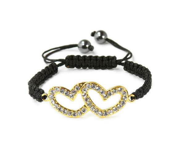 one size fits all Gold CZ matching hearts bracelet