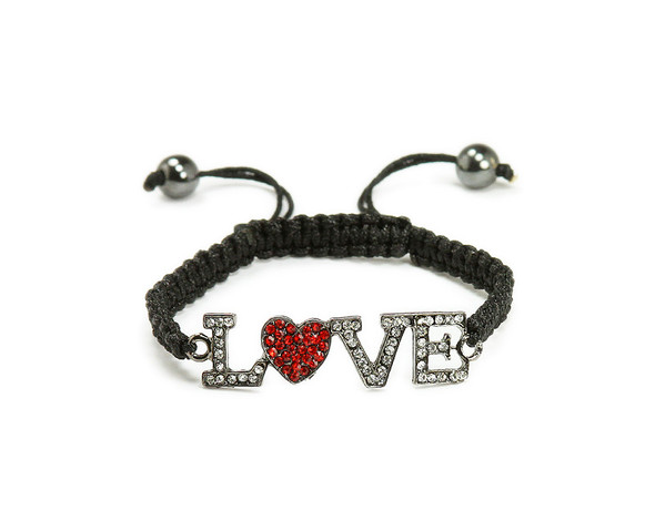 "one size fits all Black framed CZ ""Love"" bracelet"