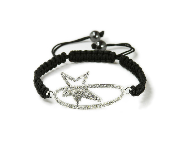one size fits all Silver CZ shooting star bracelet