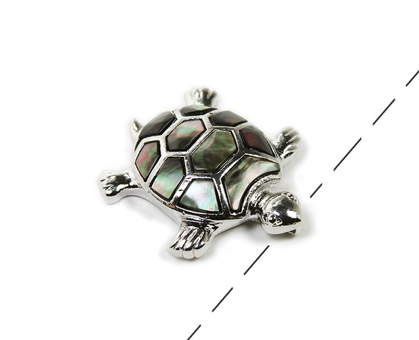 Approx. 40x45mm Decorated Black Shell Turtle Pendant