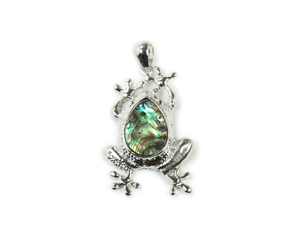 30x40mm Abalone shell frog pendant with bail