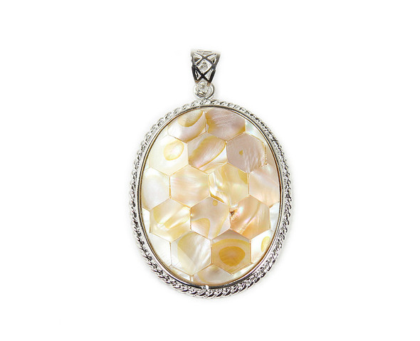 35x45mm Mother of pearl hexagon oval pendant with decorated metal frame and bail
